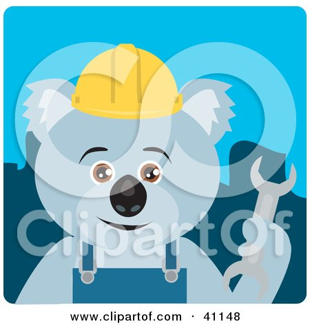 Clipart Illustration of a Koala Bear Construction Worker Character by Dennis Holmes Designs
