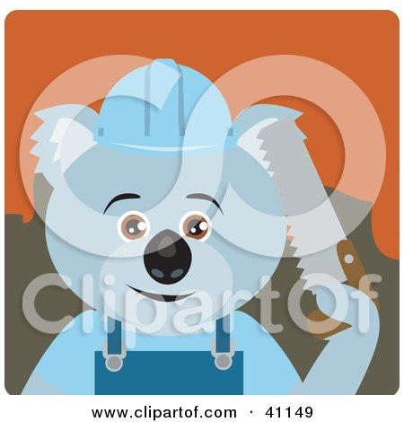 Clipart Illustration of a Koala Bear Lumberjack Character by Dennis Holmes Designs