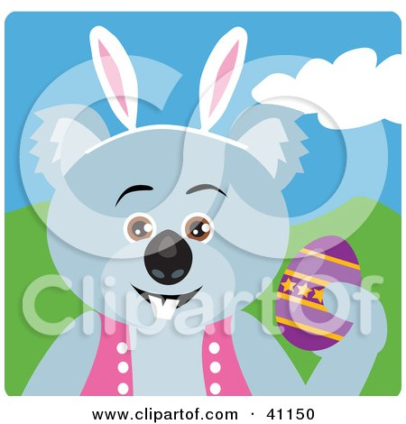 Clipart Illustration of a Koala Bear Easter Bunny Character by Dennis Holmes Designs
