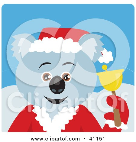 Clipart Illustration of a Christmas Koala Bear Charity Bell Ringer Characte by Dennis Holmes Designs