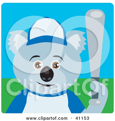 Clipart Illustration of a Koala Bear Baseball Character by Dennis Holmes Designs