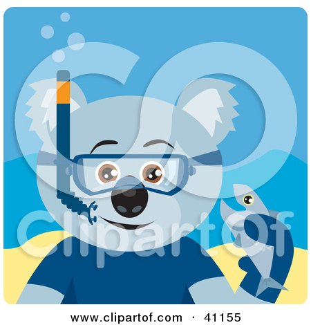 Clipart Illustration of a Koala Bear Snorkel Character by Dennis Holmes Designs
