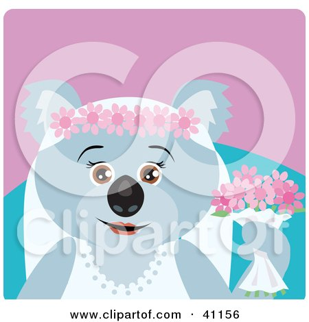 Clipart Illustration of a Koala Bear Bride Character by Dennis Holmes Designs