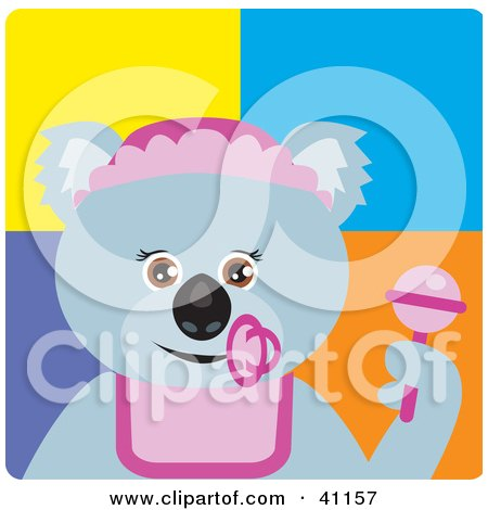 Clipart Illustration of a Koala Bear Baby Girl Character by Dennis Holmes Designs
