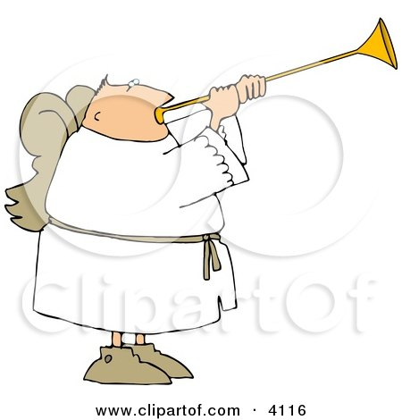 Male Angel With Wings Blowing A Horn Clipart
