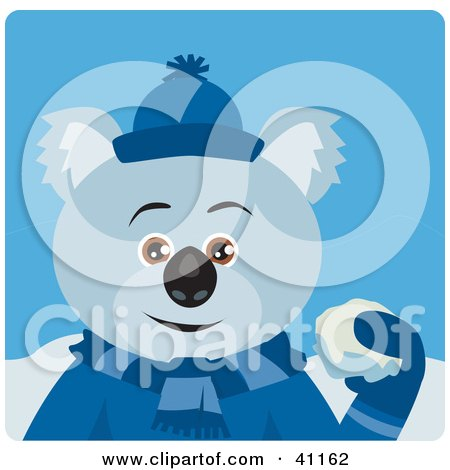 Clipart Illustration of a Koala Bear Character Playing In The Snow by Dennis Holmes Designs