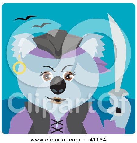 Clipart Illustration of a Koala Bear Female Pirate Character by Dennis Holmes Designs