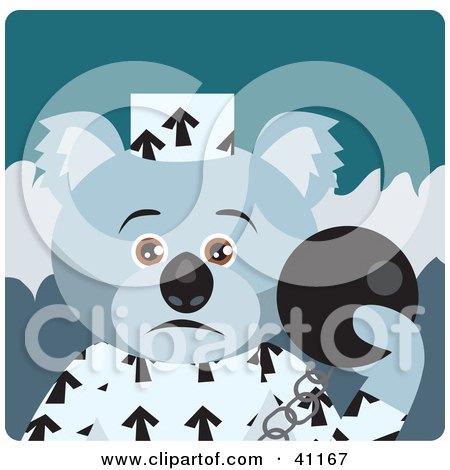 Clipart Illustration of a Koala Bear Prisoner Character by Dennis Holmes Designs