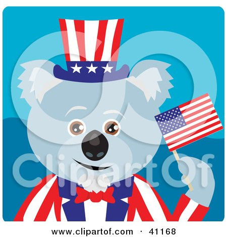 Clipart Illustration of a Koala Bear Uncle Sam Character by Dennis Holmes Designs