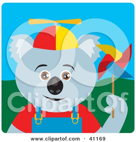 Clipart Illustration of a Koala Bear Kid Character by Dennis Holmes Designs