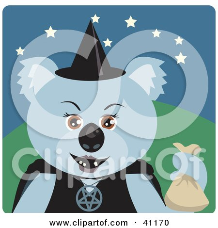 Clipart Illustration of a Koala Bear Witch Halloween Character by Dennis Holmes Designs