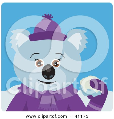 Clipart Illustration of a Female Koala Bear Character Throwing Snow Balls by Dennis Holmes Designs