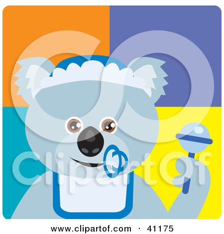 Clipart Illustration of a Baby Boy Koala Bear Character by Dennis Holmes Designs