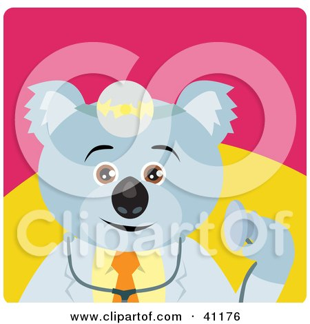 Clipart Illustration of a Koala Bear Doctor Character by Dennis Holmes Designs