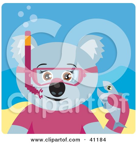 Clipart Illustration of a Female Koala Bear Snorkel Character by Dennis Holmes Designs