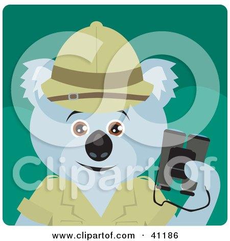 Clipart Illustration of a Koala Bear Explorer Character by Dennis Holmes Designs