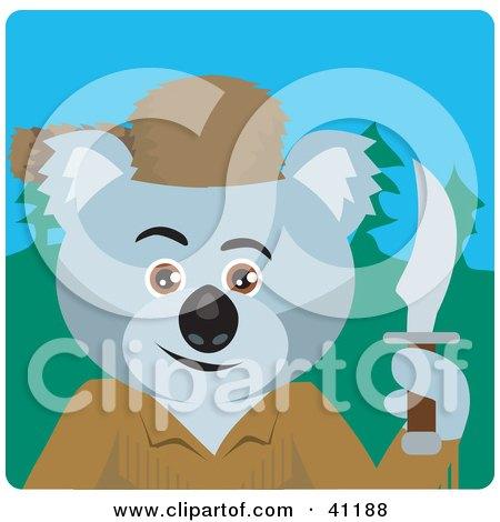 Clipart Illustration of a Koala Bear Davey Crockett Character by Dennis Holmes Designs