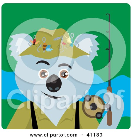 Clipart Illustration of a Koala Bear Fishing Character by Dennis Holmes Designs