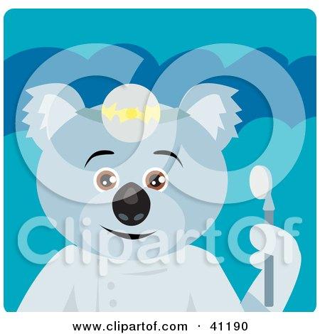 Clipart Illustration of a Koala Bear Dentist Character by Dennis Holmes Designs