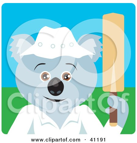 Clipart Illustration of a Koala Bear Cricket Player Character by Dennis Holmes Designs