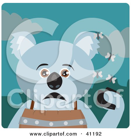 Clipart Illustration of a Koala Bear Character Holding A Wallet And Being Surrounded By A Swarm Of Moths by Dennis Holmes Designs