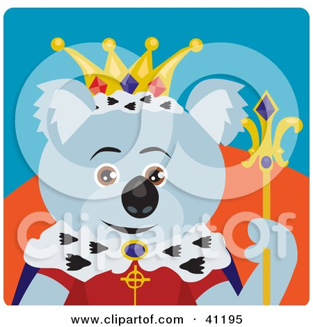 Clipart Illustration of a Koala Bear King Character by Dennis Holmes Designs