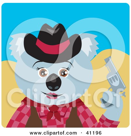 Clipart Illustration of a Koala Bear Cowgirl Character by Dennis Holmes Designs