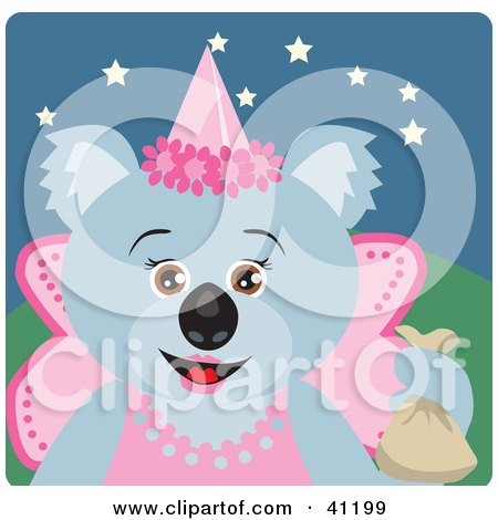 Clipart Illustration of a Koala Bear Fairy Princess Halloween Character by Dennis Holmes Designs