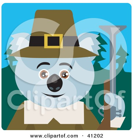 Clipart Illustration of a Koala Bear Hunter Pilgrim Character by Dennis Holmes Designs