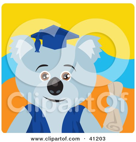 Clipart Illustration of a Graduation Koala Bear Character by Dennis Holmes Designs