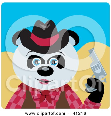 Clipart Illustration of a Giant Panda Bear Cowgirl Character by Dennis Holmes Designs