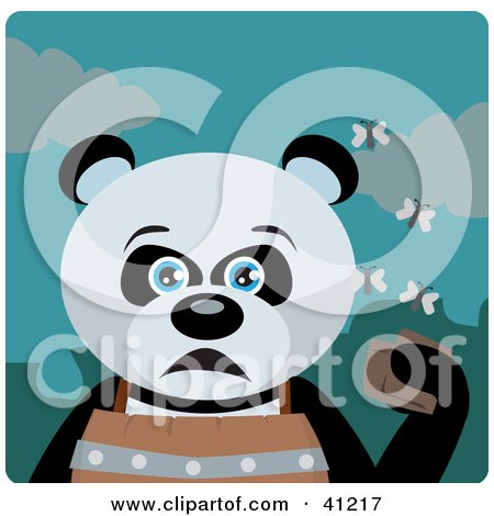 Clipart Illustration of a Giant Panda Bear Character Holding A Wallet And Being Surrounded By A Swarm Of Moths by Dennis Holmes Designs
