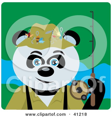 Clipart Illustration of a Giant Panda Bear Fishing Character by Dennis Holmes Designs