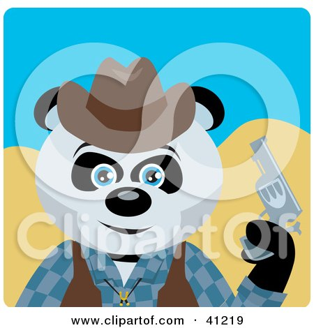 Clipart Illustration of a Giant Panda Bear Cowboy Character by Dennis Holmes Designs