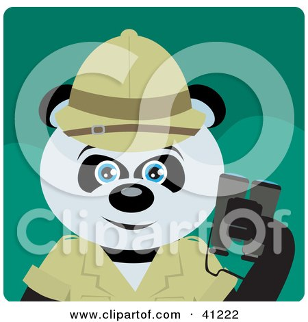 Clipart Illustration of a Giant Panda Bear Character Exlplorer by Dennis Holmes Designs