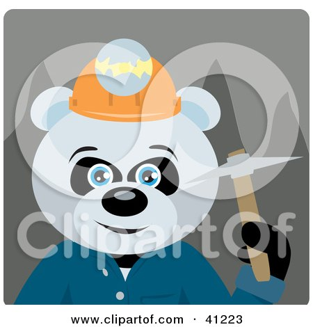 Clipart Illustration of a Giant Panda Bear Miner Character by Dennis Holmes Designs