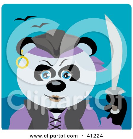 Clipart Illustration of a Giant Panda Bear Pirate Character by Dennis Holmes Designs