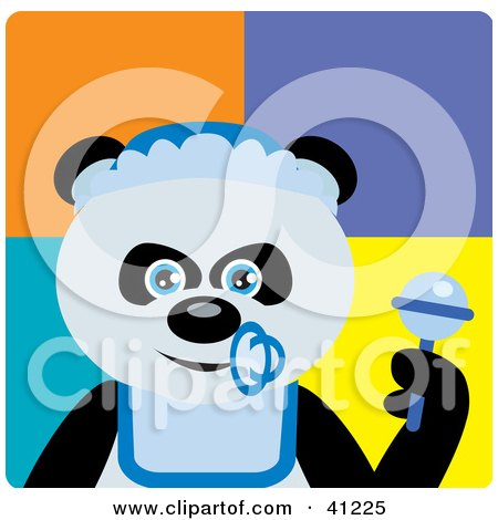 Clipart Illustration of a Giant Panda Baby Boy Bear Character by Dennis Holmes Designs