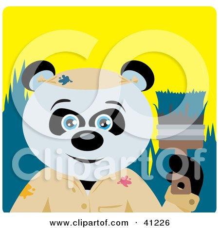 Clipart Illustration of a Giant Panda Bear Painter Character by Dennis Holmes Designs