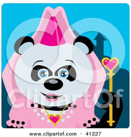Clipart Illustration of a Giant Panda Princess Bear Character by Dennis Holmes Designs