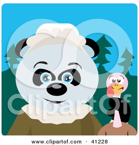 Clipart Illustration of a Giant Panda Pilgrim Bear Character Holding A Thanksgiving Turkey by Dennis Holmes Designs