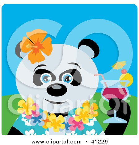 Clipart Illustration of a Giant Panda Bear Hawaiian Tourist Character by Dennis Holmes Designs