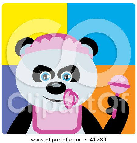 Clipart Illustration of a Giant Panda Baby Girl Bear Character by Dennis Holmes Designs