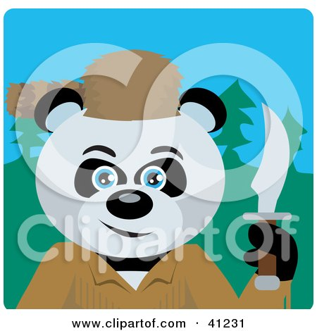 Clipart Illustration of a Giant Panda Davey Crockett Bear Character by Dennis Holmes Designs