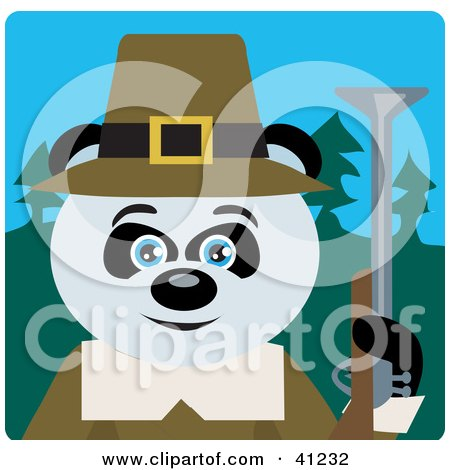 Clipart Illustration of a Giant Panda Hunting Pilgrim Bear Character by Dennis Holmes Designs
