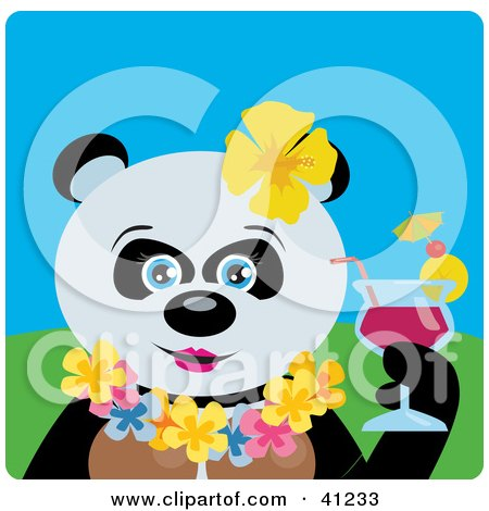 Clipart Illustration of a Hawaiian Tourist Giant Panda Bear Character by Dennis Holmes Designs