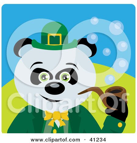 Clipart Illustration of a Giant Panda Leprechaun Bear Character by Dennis Holmes Designs