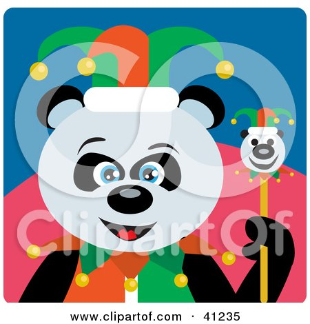 Clipart Illustration of a Giant Panda Jester Bear Character by Dennis Holmes Designs