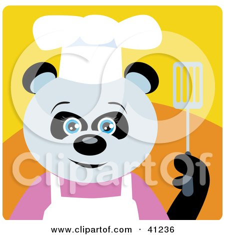 Clipart Illustration of a Giant Panda Chef Bear Character by Dennis Holmes Designs
