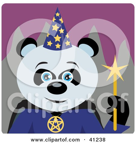 Clipart Illustration of a Giant Panda Wizard Halloween Bear Character by Dennis Holmes Designs